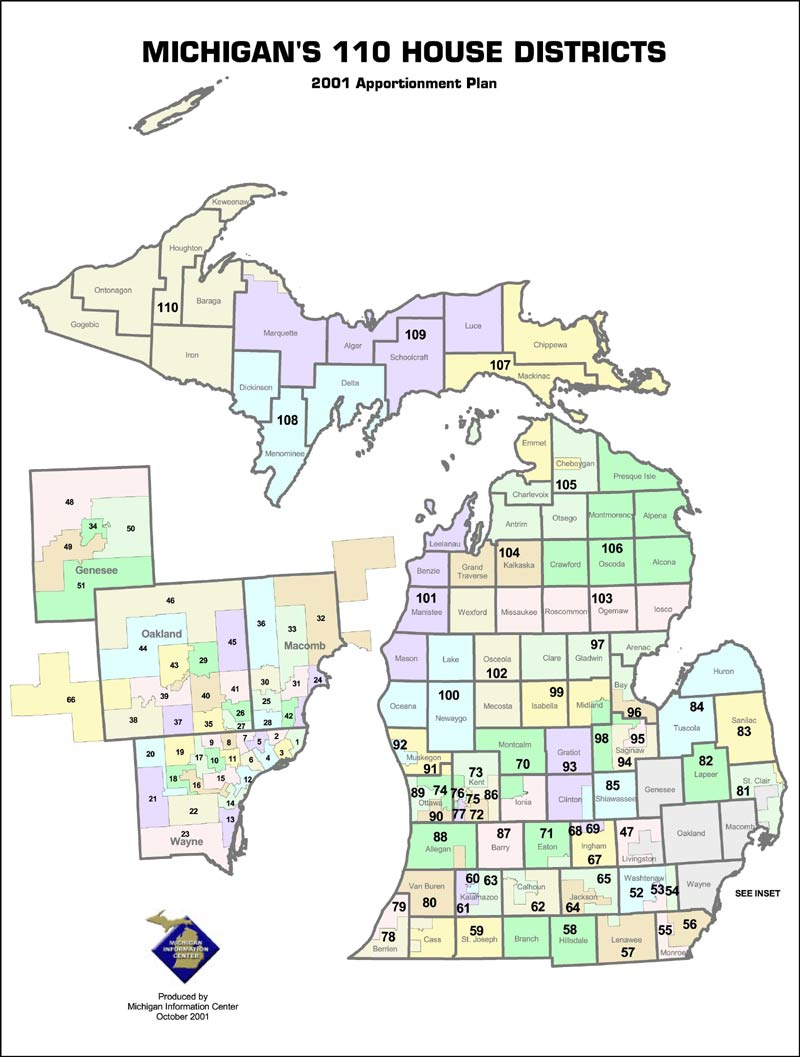 Michigan State Government Representatives and Senators by County on